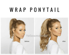 Clip In Remy Human Hair Extensions Real Thick Ponytail Wrap Around Brown Blonde