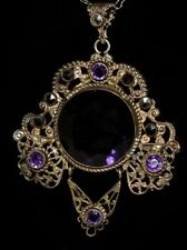 Gorgeous Antique VICTORIAN Brass Amethyst Marcasite Necklace Orig JEWELED Chain