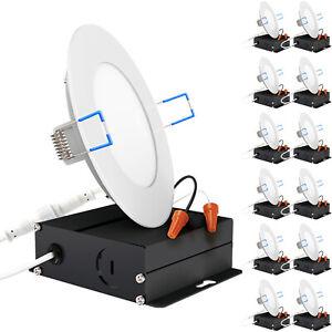Sunco Lighting 12 Pack 4 Inch Slim Ultra-Thin Recessed Retrofit Kit LED 5000K