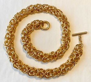 """Signed G ITALY 18KT Gold Plated CHUNKY 15mm BYZANTINE Chain Toggle Necklace 28"""""""