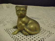 Vintage Wal-Mart Brass Cat Figurine Felt Bottom Original Sticker Made in Taiwan