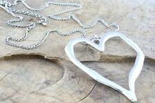 Large abstract metal heart pendant and black cord necklace silver lagenlook