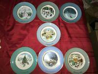 "7 Vintage AVON 1974-80 Enoch Wedgwood England Christmas Plate 22K Gold Trim 8¾"""