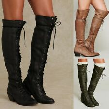 Women Gladiator Round Toe Lace Up Block Chunky Heels Roman Knee High Boots Shoes
