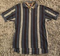 Vintage 90s Tommy Hilfiger Vertical Stripe Polo Crest Shirt Size Large