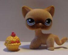 Littlest Pet Shop Flocked Fuzzy Tan CAT Kitten Shorthair 318 LPS #318