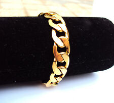 """24K GF Stamp Yellow Gold Filled 9"""" 12mm Mens Bracelet Curb Chain Link Jewelry"""