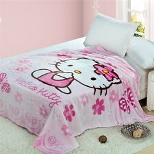 Hello Kitty Cute Cat Blanket Bedding Soft Warm Throw Flannel Plush Rug 1.5*2M