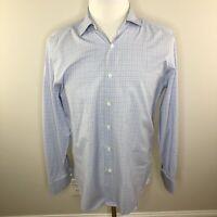 Canali 1934 Button Down Shirt Mens Long Sleeve Blue Window Pane Size 41-16