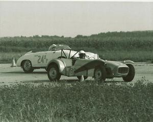 Vintage 8X10 SCCA 1963 Courtland, AL Lotus Super 7 & Porsche Carrera
