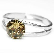 NEW Ring 6mm Swarovski Stone Light Colorado Topaz/Brown-Gold Size Adjustable