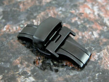 BLACK 16MM Deployment Buckle Double Clasp BRUSHED Stainless Steel