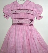 Smocked Dress Size 5 Pretty Pink & White Check Handmade
