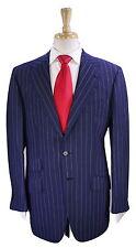 * BORRELLI * Napoli Navy w/ Sky Blue Striped Wool-Linen Summer 2-Btn Suit 40R