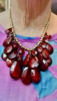 Vintage Gold Tone Red Faceted Drape Bead Necklace Adjustable