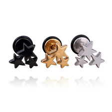 Three Stars White Black titanium steel Punk Men Screw earrings 2 colors No fade