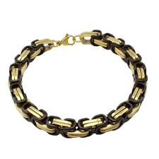 "Men's Two Tone  Stainless Steel 7.5mm Byzantine Chain Bracelet 8.75"""