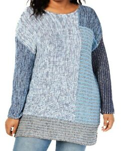 Style & Co. Women's Sweater Blue Size 3X Plus Colorblok Pullover Knit $69 #124