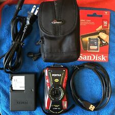 Pentax WG-10 Waterproof Digital Camera~~ Red (14Mp 5X Optical Zoom)~~BUNDLE~~