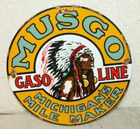 Musgo Gasoline Motor Oil Vintage Style Porcelain Signs Gas Pump Plate Michigan