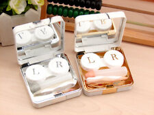 Lens Container Marble Surface Square Mirror Cover Contact Case Travel Container