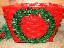 Vintage Christmas Card Holder Wicker Basket covered w/ Red Cello Tinsel Wreath