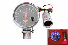 12V  5`` Black Grey Gasoline RPM Tachometer Gauge Rev Counter Shift Light