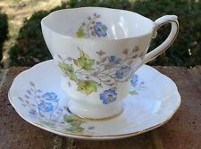 Royal Grafton Fine Bone China Cup & Saucer Blue Pink Wispy Flowers - England