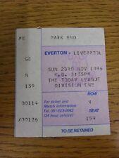 23/11/1986 Ticket: Everton v Liverpool [Football League Runners Up] (light creas