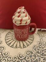 """New RAE DUNN Christmas LL """"PEPPERMINT MOCHA"""" Red Mug With Topper By Magenta"""