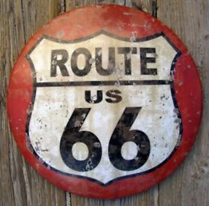 Primitive Antique Vtg Style Red Highway Route 66 Dome Tin Sign Man Cave Retro