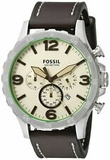 Fossil JR1496 Men's Nate Brown Leather Band Cream Dial Analog Chronograph Watch