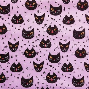 NEW! PolyCotton Fabric Halloween Spooky Cat Star Lilac Purple Yellow Material
