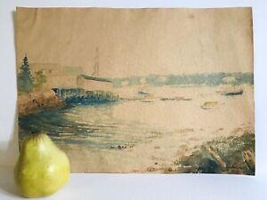 Antique 1935 Signed South West Harbor MAine Seascape Sailboats Watercolor