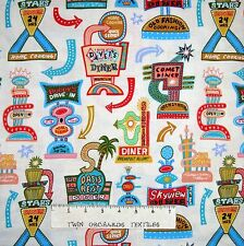 Food Fabric - Barbara's Diner Retro Drive-In Sign Cream Elizabeth's Studio YARD