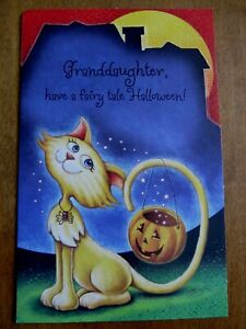 Granddaughter Halloween Card & Envelope - Pretty Cat with Jack-O-Lantern on Tail