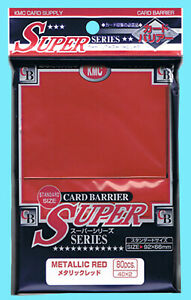 80 KMC METALLIC RED Standard Size Card Barrier Sleeves NEW Deck Protector MTG
