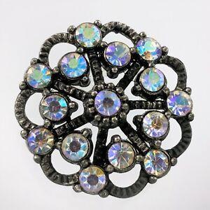 Vintage Rhinestone Metal Button Floral Design 1in V699