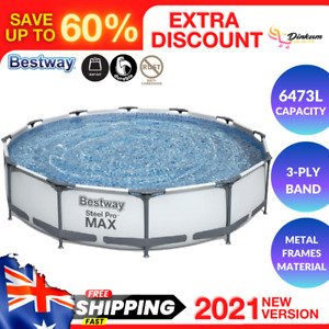 Bestway Above Ground Swimming Pool Outdoor Big Huge Family Pools w/ Filter Pump