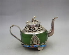 Exquisite chinese old Tibet silver Armor  jade Hand carved Dragon monkey Teapots
