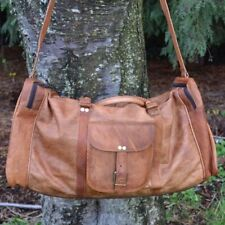 Bag Duffel Real Brown Leather Retro vintage Square duffle travel gym bag Carryon