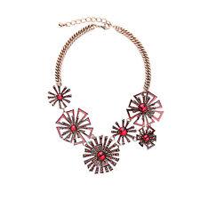 Collier Court Doré Filigrane Fleur Marguerite Email Rouge Art Deco Retro AZ 2