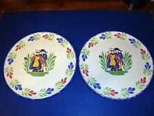 Pair large French hand painted Breton Quimper design plates by Pornic Brittany