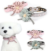 Pet Dog Flower Bowknot Leather Collar Puppy Cat Adjustable Bow Tie Neck Leash DM