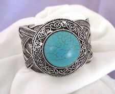 "Round Turquoise Bead. Old Silver Tone Finish.  2"" Wide Cuff Bracelet.  NWT"
