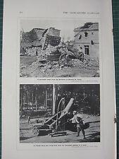1915 WWI WW1 PRINT ~ BARRICADE FROM GERMANS NEUVILLE ST VAAST ~ FRENCH HEAVY GUN