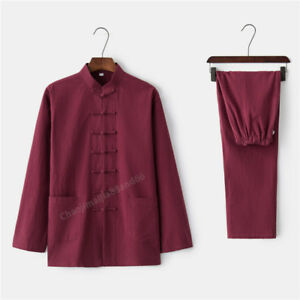 Chinese tradition Kung Fu Tai chi Wu shu Martial Arts uniform cotton linen Suit