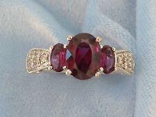 Vintage 10K Ring, 3 Natural Garnets, 14, 1.5mm Diamonds, size 5.75