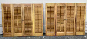 """28"""" Tall x 35"""" Wide VTG Colonial Wood Interior Louver Plantation Window Shutters"""