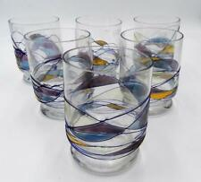 Set of 6 Lovely Stained Glass Design 12 Ounce Juice Glasses